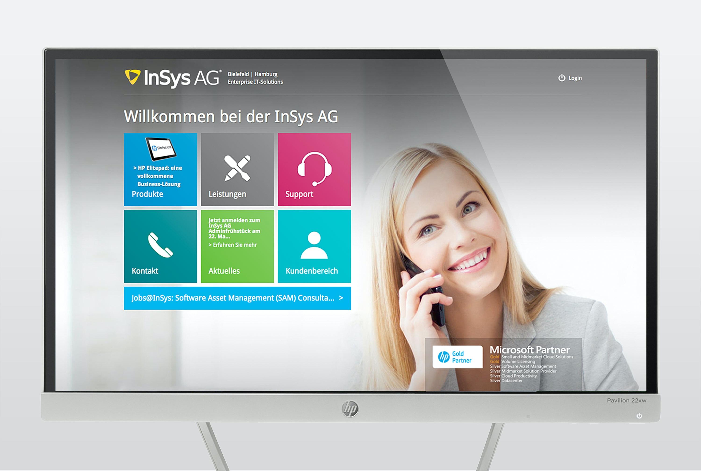 Im Microsoft Kachel-Design – die neue Website der InSys AG einem DER Microsoft und hp Partner Deutschlands