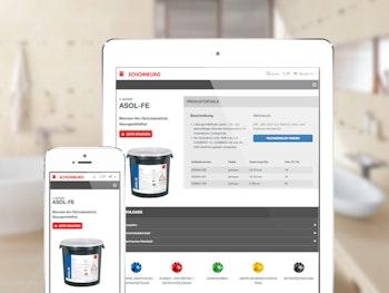Produkttabellen, Downloads und Verarbeitungsinformationen optimiert für alle Endgeräte